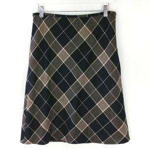 Loft 100% wool A line plaid skirt 6